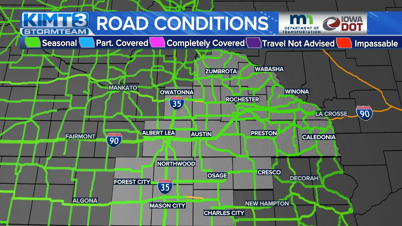 Image for The latest road conditions in southern Minnesota and northern Iowa